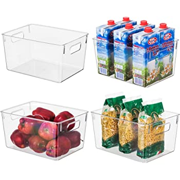 Amazon Com Eamaott Clear Plastic Storage Organizer Container Bins With Cutout Handles Transparent Set Of 4 Bpa Free Closet Kitchen Cabinet Storage Bins For Pantry Refrigerator 11 X 8 X 6 Each Kitchen Dining