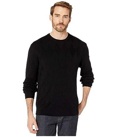 Perry Ellis Argyle Print Long Sleeve Sweater (Black) Men