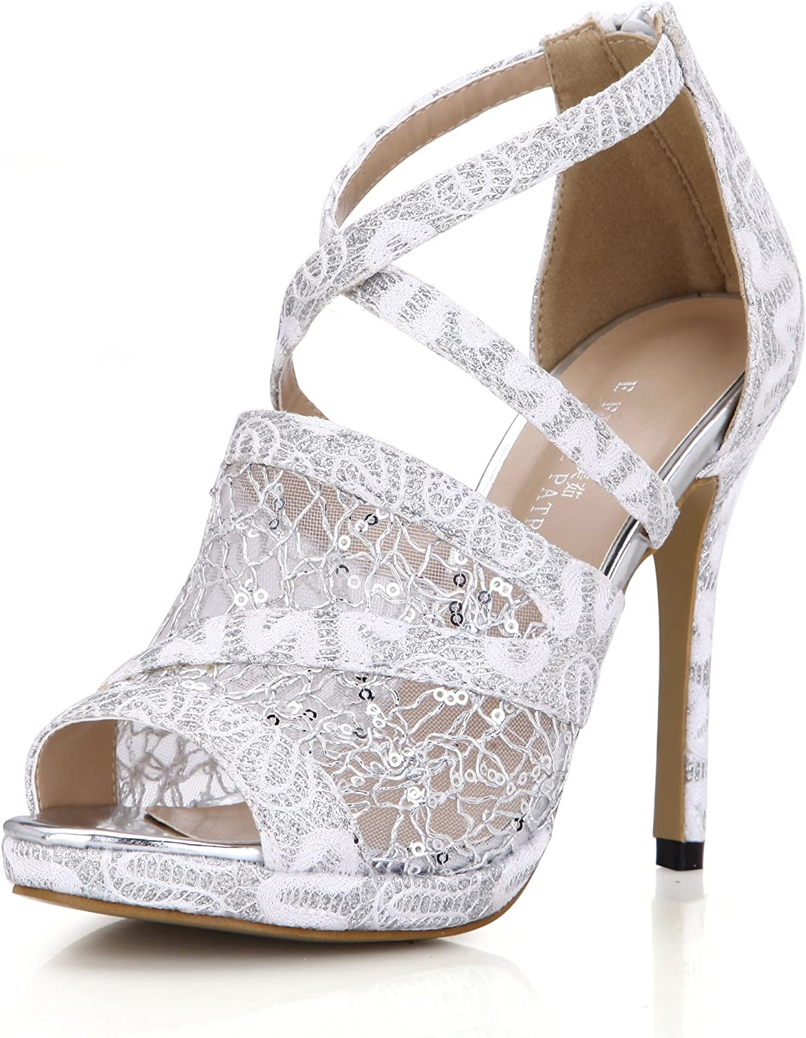 Lace Sandal Pumps Women Peep Toe Dress Party Stiletto shoes Dolphin Prom Wedding Heels SM00218
