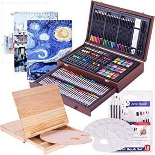 165 Piece Deluxe Art Set with 3 Drawing Pads,1 Wooden Drawing Easel with Drawer, Painting & Drawing Set That Contains All ...