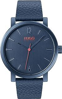 ساعة هوغو بحركة كوارتز من الستانلس ستيل بسوار من الجلد للرجال من هوغو بوس - لون ازرق
