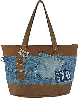 Sunsa Damen Handtasche. Tasche aus Canvas, used Jeans & Leder. Nachhaltige Produkte. Groß Shopper mit Reißverschluss, A4 g...