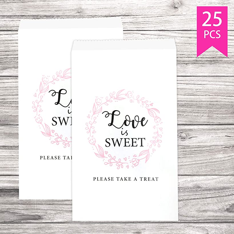 Lucky Party Wedding Favors Candy Buffet Bags - 25 Pcs 4.5 x 7.75 inches White Kraft Paper Wedding Favor Rustic Bags Good for Treat Snacks or Cookie Buffets - Please Take A Treat