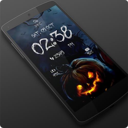 Halloween Spooky Digital Clock Live Wallpaper