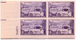 1953 3¢ US Postage Stamps Scott 1025 50th Anniversary Trucking Industry Block Of 4