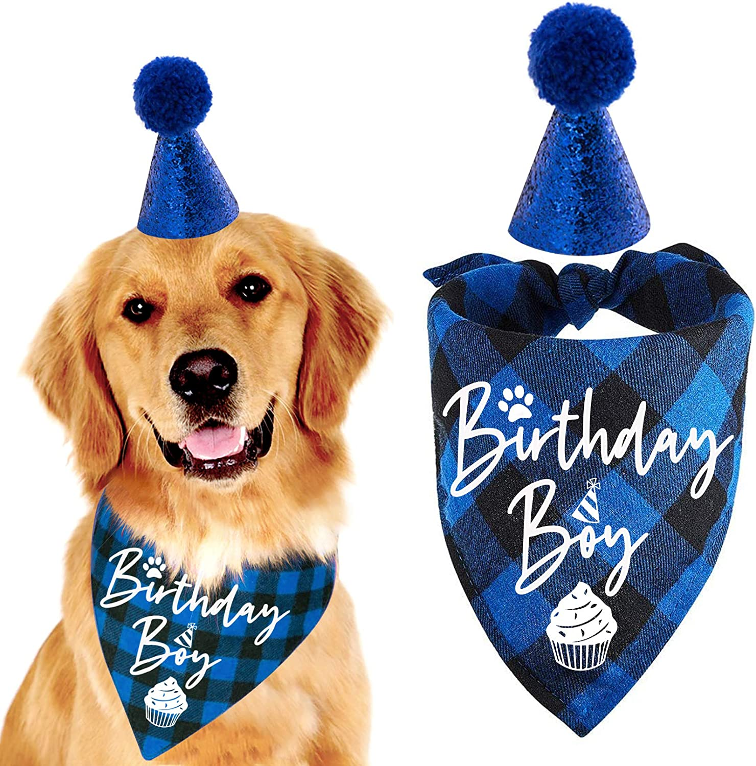 family Kitchen Classic Blue Plaid Dog with Pet Popular shop is New popularity the lowest price challenge Bandana Puppy
