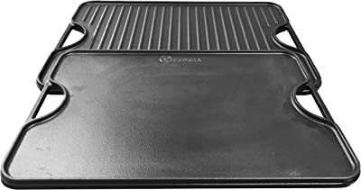 Victoria Rectangular Cast Iron Double Burner Griddle Seasoned with 100% Kosher Certified Non-GMO Flaxseed Oil, 20 x 14 Inch, Black