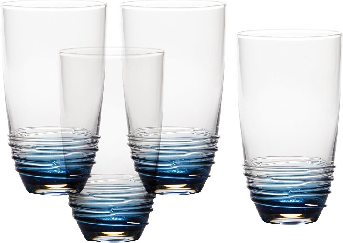Mikasa Swirl Cobalt Highball Glass Set Of 4 20 Oz