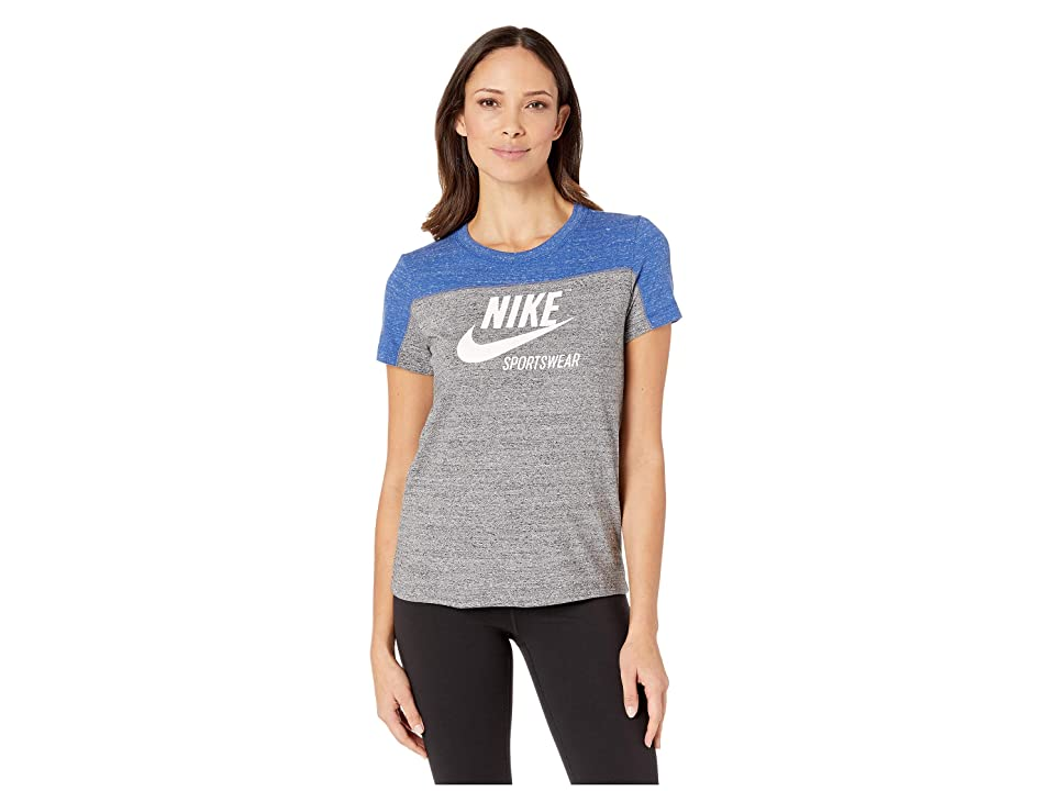 Nike Sportswear Gym Vintage Top Short Sleeve Graphics (Indigo Force/Carbon Heather/Sail) Women