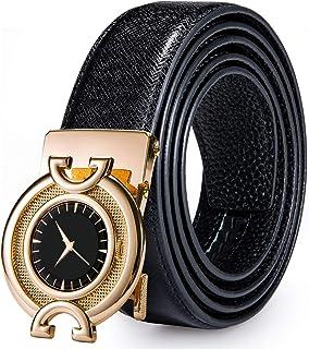 DiBanGu Men's Belt,Ratchet Belt for Men Genuine Leather Black Sliding Mens Belt Removable Buckle
