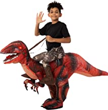 Spooktacular Creations Inflatable Halloween Costume Ride A Raptor Inflatable Costume with LED Light Eyes - Child Unisex