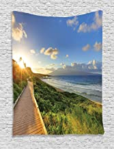 Ambesonne Seaside Decor Collection, Exotic Fantastic Beach Walk over the Grass at Sunset with Horizon Mystical Journey, Bedroom Living Room Dorm Wall Hanging Tapestry, Green Cream Blue