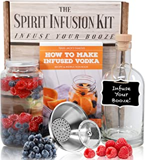 The SPIRIT INFUSION KIT - Infuse Your Booze! 70+ Homemade Flavored Vodka Recipes. Become an Infused Alcohol Cocktail Mixologist using the 110pg Recipe and Instruction Book. Great Gift & Party Hit!