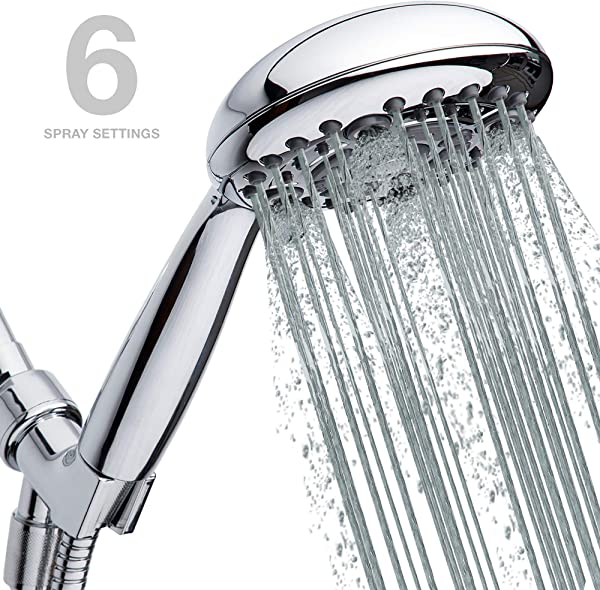 High Pressure Handheld Shower Head 6 Setting Luxury 5 Handheld Rain Showerhead With Hose Powerful Shower Spray Even With Low Water Pressure In Supply Pipeline Low Flow Rainfall Shower Head