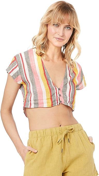 Rusty Women's Troublemaker Button UP Stripe Shirt