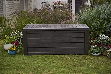 Keter Westwood 150 Gallon Resin Large Deck Box-Organization and Storage for Patio Furniture, Outdoor Cushions, Garden Tools a