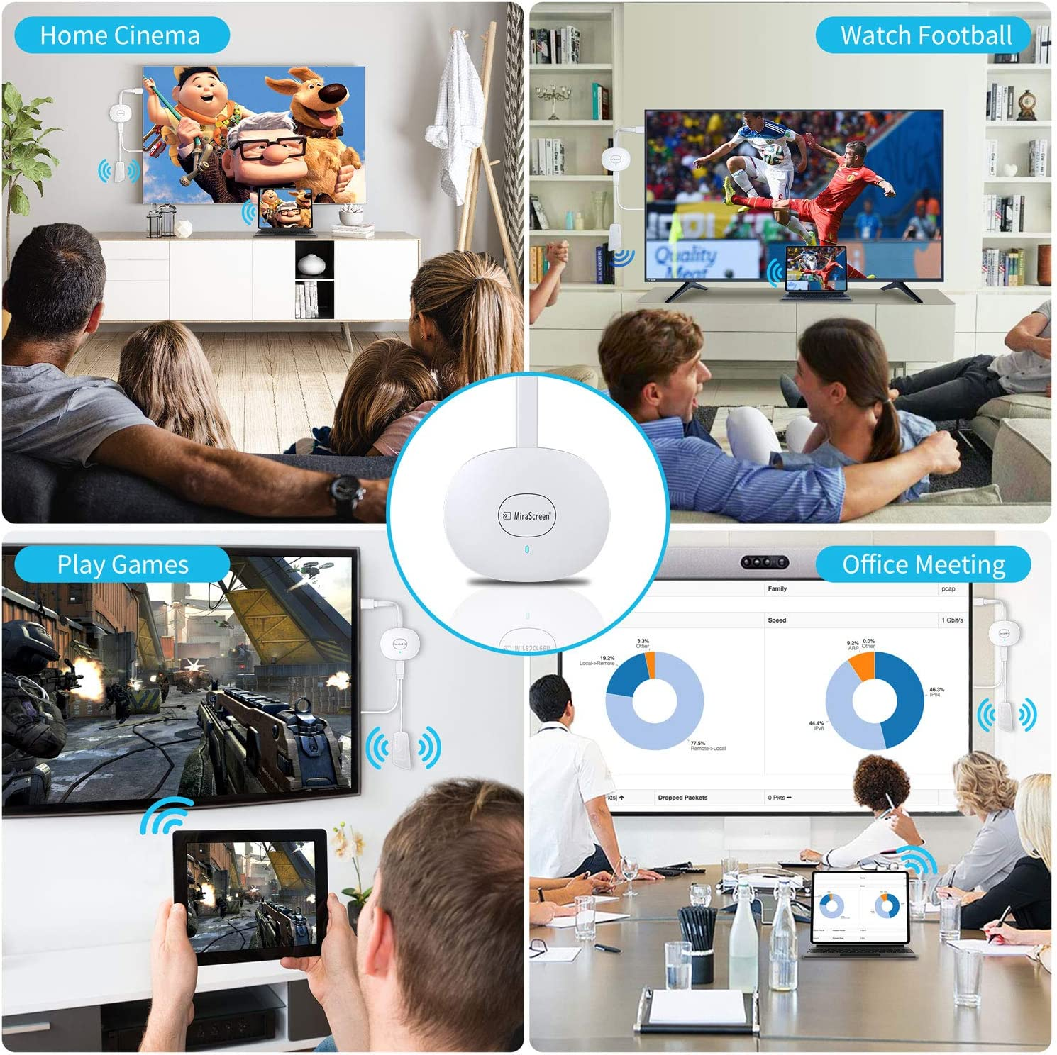 Streaming Video Receiver f/ür iPhone//iPad//IOS//Android//Windows//PC auf HD TV//Monitor//Projektor//Mac MPIO Wireless HDMI 4K Wi-Fi Display Dongle Adapter Unterst/ützung Miracast Airplay DLNA,Schwarz