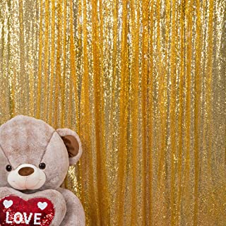 JYFLZQ Sequin Backdrop Curtain Photography Background Party Decor for Wedding Birthday Baby Shower (7 ft x 7 ft, Gold)