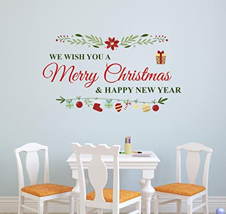 Amazon Com Merry Christmas Happy New Year Wall Decal Christmas Wall Decor Removable Vinyl Art Mural Living Room Door Sticker 50 W X 28 H Arts Crafts Sewing