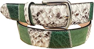 ESPERANTO Cintura in Pitone, Coccodrillo e Pelle Bovina- Verde Smeraldo- 4 cm unisex