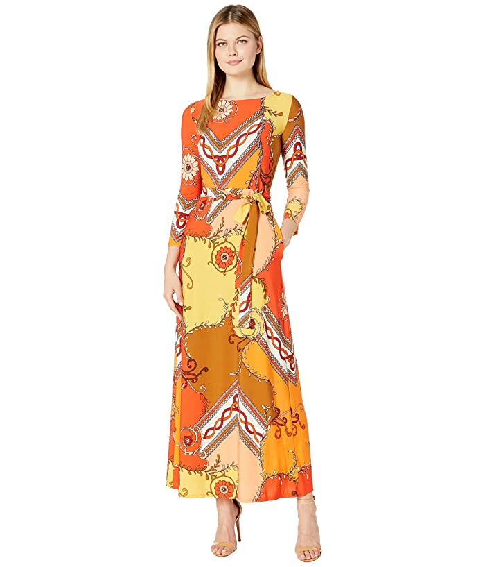 500 Vintage Style Dresses for Sale | Vintage Inspired Dresses Donna Morgan 34 Sleeve Stretch Knit Jersey Maxi Self Belt Dress Sunset Multi Womens Dress $64.00 AT vintagedancer.com