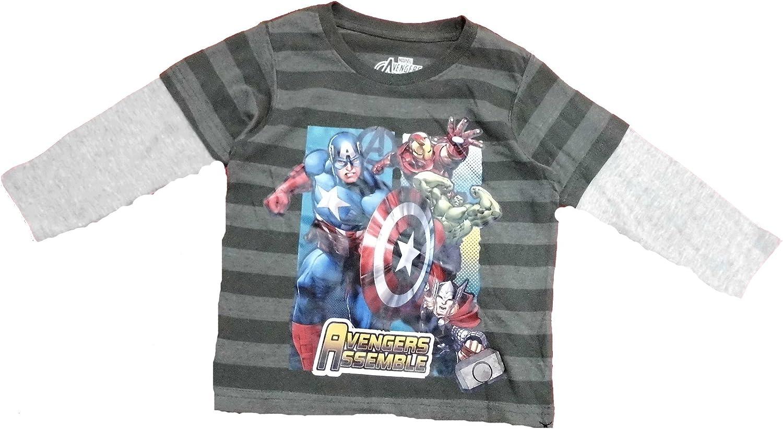Marvel Avengers Assemble Little Boys' Toddler Grey Long Sleeve Tee Shirt