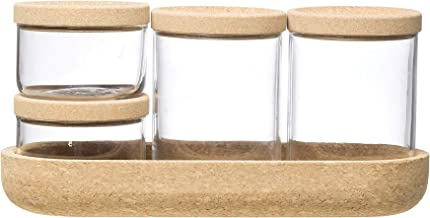 4 برطمانات زجاجية شفافة من كرياتيف كو-اوب مع صينية وغطاء من الفلين (مجموعة من 9 قطع بما في ذلك الاغطية) تخزين الطعام