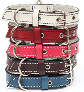 forPups Genuine Leather Dog Collars with Stainless Steel Buckle and Double D Rings– Unbreakable! Indestructible! – The Strongest Hand-Stitched Leather Collars in Amazon