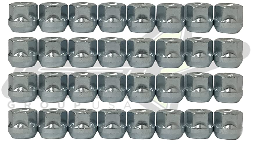 SET Group USA 32 Pc Open End Lug Nuts Bulge Acorn 14x1.5 Fits Ford Hummer Chevy 3/4 Hex |14mm x1.5