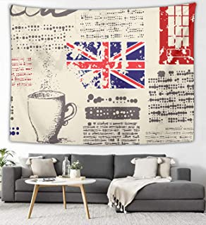 NiYoung British Newspaper Wall Tapestry Hippie Art Tapestry Wall Hanging Home Decor Extra Large Tablecloth for Bedroom Living Room Dorm Room 40x60 Inches