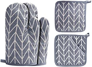 Win Change Oven Mitts and Potholders BBQ Gloves-Oven Mitts and Pot Holders with Recycled Cotton Infill Silicone Non-Slip Cooking Gloves for Cooking Baking Grilling (4-Piece Set,Grey)