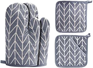 Win Change Oven Mitts and Potholders BBQ Gloves-Oven Mitts and Pot Holders with Recycled Cotton Infill Silicone Non-Slip C...