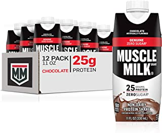Muscle Milk Genuine Protein Shake, Chocolate, 25g Protein, 11 Fl Oz (Pack of 12) (Pack May Vary)