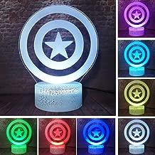 Fanrui Avengers Endgame Captain America Shield Lamp Steve Rogers Prop Superhero Smart 7 Color Change Bright Crack Base Night Light Boys Bedroom Decor Creative Child Kids Teenager Toy Xmas Holiday Gift
