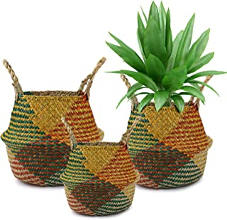 Yesland Woven Seagrass Belly Basket for Storage - Set of 3 - Colorful Plant Pot, Laundry & Picnic Basket for Home or Outdo...