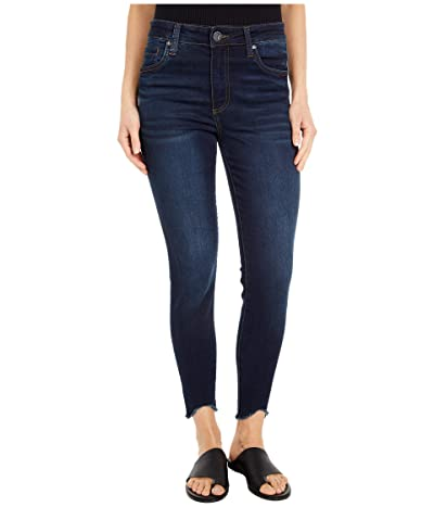 KUT from the Kloth Connie High-Rise Ankle Skinny with Curve Raw Hem in Alter (Alter Wash) Women