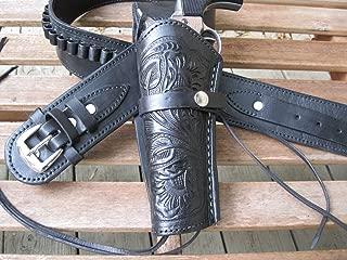 Shotgun Lilli Gun Belt - Leather - 45 Caliber - Black Color with Left Handed Tooled Holster Combo