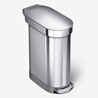 simplehuman CW2044 45L Slim Pedal Bin, Brushed Stainless Steel, W 25.9cm x H 62.1cm x D 54.5cm