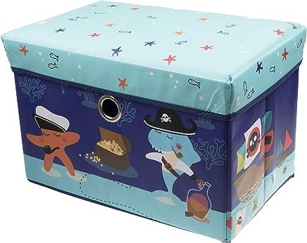 Clever Creations 出品的水下海洋冒险储物盒 存储奥托曼语,适合任何房间。尺寸非常适合书籍、鞋、游戏等的胸围。