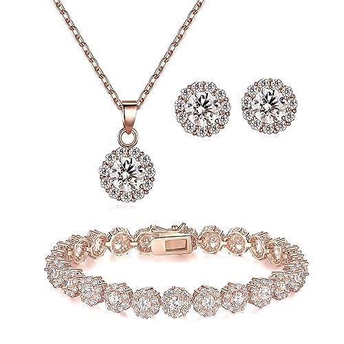 5af88f1bbf61 Lé Joli 18K Rose Gold Plated Round Cut Cubic Zirconia Bracelet