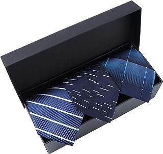 Seavish ワンタッチネクタイ 3本セット 洗える ネクタイ 8cm 定番 ストライプ 小紋 格子 ビジネス ブルー系 装着カンタン メンズ プレゼント ギフトボックス付き