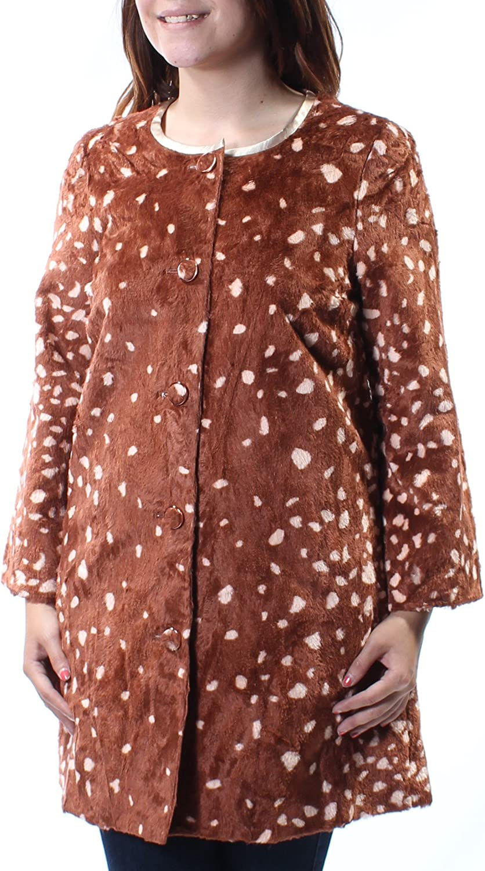 Maison Jules Womens Brown Faux Fur Polka Dot Peacoat Jacket US Size  S