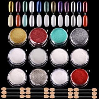 ANDERK 12 cajas Shell Polvo de Perlas Espejo Efecto Cromo Uñas de Sirena polvo Brillo y Decoración de uñas con 12pcs Pali...