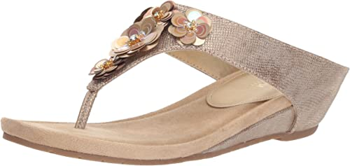 Kenneth Cole REACTION Wohombres Hop Flower Low Wedge Sandal, Soft oro, 9.5 M US