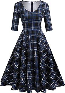 4c12fe3c0e ELESOL Women s Half Sleeve Swing Dress Flower Print A Line Tea Dress
