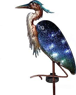 TERESA'S COLLECTIONS 42 inch Glass Heron Garden Decor Solar Stake Lights, Decorative Metal Blue Heron Crane Solar Lights L...