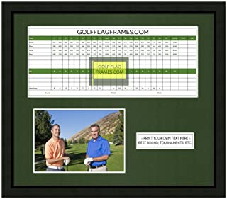 13X15 Black Golf Scorecard Picture Frame, Moulding blk-001, Green Mat (Holds up to 5X12 Card and 4x6 or 5x7 Photo); Card and Photo not Included