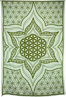 Zest For Life Flower of Life Tapestry Tablecloth Beach Sheet Wall Art 80x52 Inches Green - Free Sticker Included