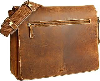 ALMADIH XL echt Leder Messenger mit 17 Laptop-Fach braun Vintage – Laptoptasche Aktentasche mit vielen Fächern - Ledertasche Umhängetasche Businesstasche Lehrertasche Unitasche DIN A4 Schultertasche