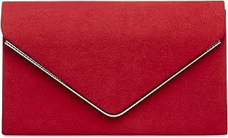 01a1e3b18 CASPAR TA356 Bolso de Mano Fiesta de Velour para Mujer/Clutch Elegante con  Cadena Larga Todo de Rojo